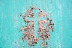 Wood cross or religion symbol shape. Wood cross or religion symbol shape over wood  background for God stock photography
