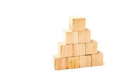 Wood cube arrange in pyramid shape ,business concpt.  Stock Images