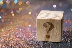 Question mark on cube stock photography