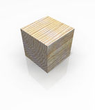 Wood Cube Solid Block Isolated Royalty Free Stock Photography