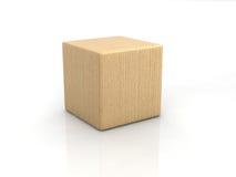 Wood cube. On white backgorund Stock Photos