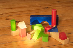 Wood cubes toys on woody floor Stock Photo