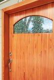Wood custom build front door exterior Stock Image