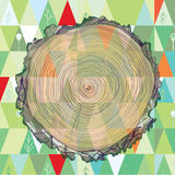 Wood cut and forest background. Banner with pattern stock illustration