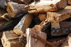 Wood cut and piled Royalty Free Stock Images