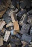 Wood cut and stacked. In the forest Royalty Free Stock Photography