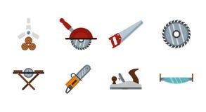 Wood cut tool icon set, flat style. Wood cut tool icon set. Flat set of wood cut tool vector icons for web design isolated on white background royalty free illustration