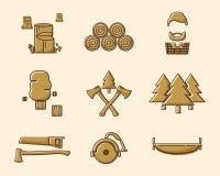Wood cutter icon set 2 stock illustration
