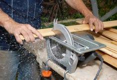 Wood cutting Stock Image