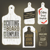 Wood cutting board template with usage examples. Royalty Free Stock Image