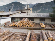 Wood cutting factory exterior. This is a wood cutting factory in switzerland royalty free stock photography