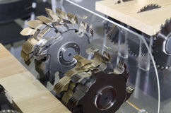 Wood cutting machine. A wood cutting machine at display at the BIFE-SIM fair in Bucharest, Romania Royalty Free Stock Photo