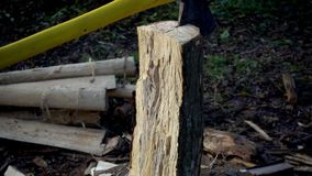 The ax cuts a stump close up of a slow motion. Wood cutting slows motion. The ax cuts a stump close up of a slow motion stock video footage