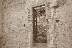 Wood dörr Arkivfoto