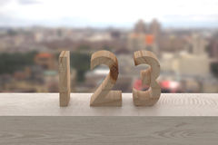 123 in wood Stock Photography