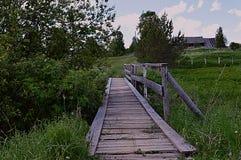 Wood dag för enslighet för sommar för gräsplaner för by för träd för trappa för brobananatur royaltyfri bild