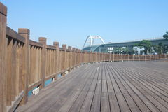 Wood deck on beach Stock Photos