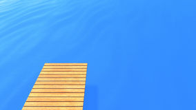 Wood deck on blue sea Royalty Free Stock Photography
