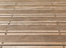 Wood deck floor background. Wooden brown deck floor boards with nonslip grooves. Little bit weathered. Architectural decoration stock image