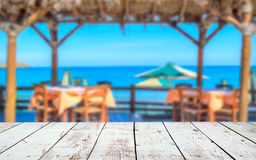 Wood deck in front of beach landscape Royalty Free Stock Photography
