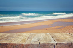 Wood deck in front of sea landscape. ready for product display Royalty Free Stock Photo