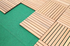 Wood deck panel floor background Stock Photo