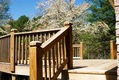 Wood deck in spring/steps. Close shot of a new wood deck with a spring Dogwood tree in the background Stock Photo