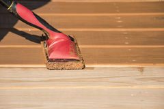 Wood Deck Staining Stock Photos