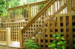 Wood deck steps and railing Royalty Free Stock Photo