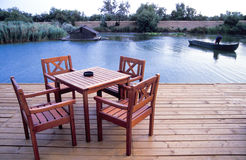 Wood deck with table stock photos