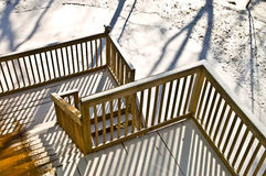 Wood Deck in Winter Royalty Free Stock Photography