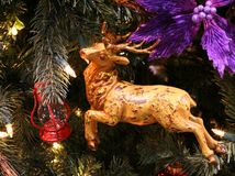 Wood Deer Christmas Ornament. Wood deer ornament on Christmas tree Royalty Free Stock Photo