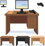 Wood desk with computer telephone and papers set Royalty Free Stock Photography