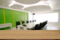 Wood desk decoration with Office Working Area background Stock Photography