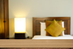 Wood desk deroration background bed room Stock Images