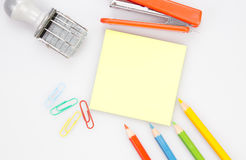 Wood desk with office supplies , top view Royalty Free Stock Photo