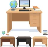 Wood desk for pupil and student set of Royalty Free Stock Images