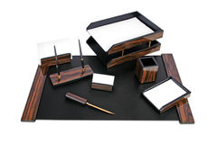 Wood desk set Royalty Free Stock Images