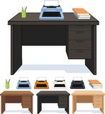 Wood desk with typewriter set of illustrations Royalty Free Stock Photo