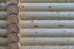 Wood. Detail of cabin wall made from beam logs Royalty Free Stock Images