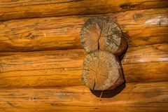 Wood detail on a log cabin Stock Image