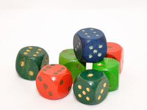 Wood dice. Color wooden dice isolated on white background stock photography