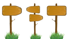 Wood Direction Signs. Vector wood direction sign set Royalty Free Stock Images