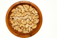 Wood dish full  of Roasted Cashew Nuts Royalty Free Stock Images
