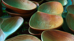 Wood dishes. Hand made wood dishes in market Stock Image