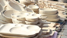 Wood Dishes stock video footage