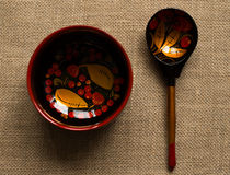 Wood dishes in the style of Russian painting Royalty Free Stock Images