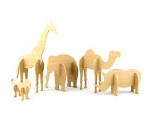 Wood djura leksaker Royaltyfri Fotografi