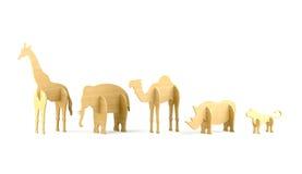 Wood djura leksaker Arkivbild