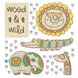 Wood djurdiagram Eco vänskapsmatchleksaker Arkivbild